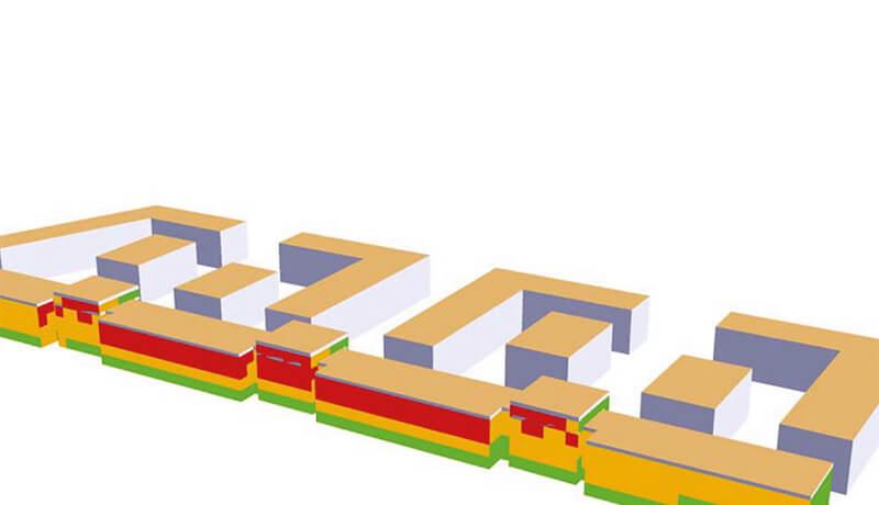 """3D Gebäude   Schallschutzgutachten zur Machbarkeitsstudie """"Bauliche Lösungen zum Umgang mit Sportlärm"""" in Berlin Johannisthal Adlershof"""