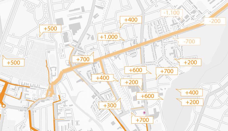Differenz Nullfall/Prognose-Nullfall | Verkehrsentwicklungsplan der Stadt Oranienburg für das Jahr 2025