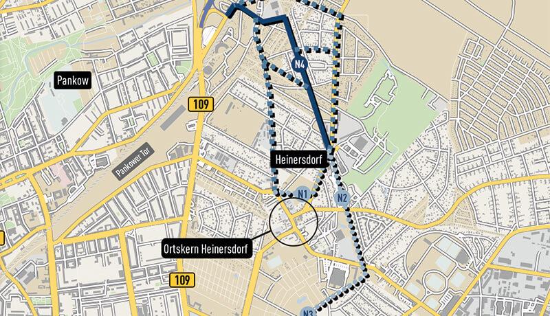 Gebiet | Verkehrsuntersuchung zum Netzelement N4 Verkehrslösung Heinersdorf