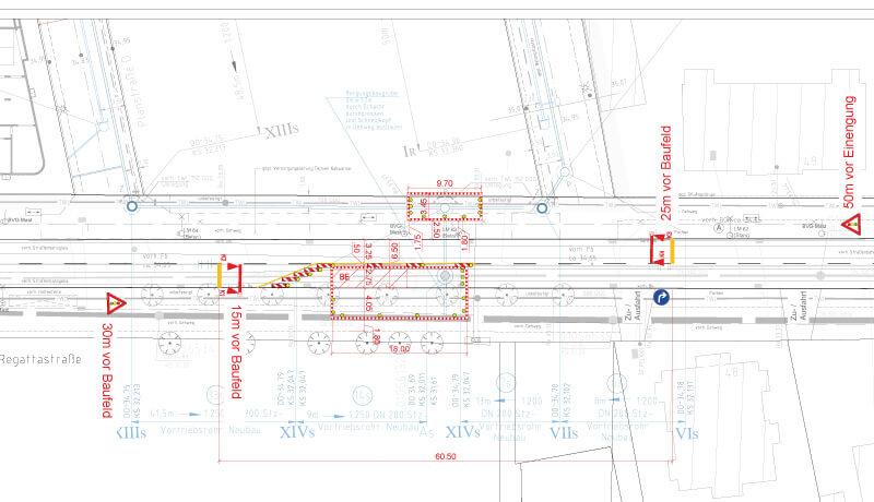 Lageplan | Bauzeitliches Verkehrskonzept für Arbeiten am Kanalnetz in der Regattastraße in Berlin