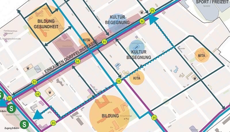 Plankarte Zielnetz | Integriertes Verkehrs- und Freiraumkonzept (IVFK) für das 'Aktive Zentren' Fördergebiet Adlershof-Dörpfeldstraße