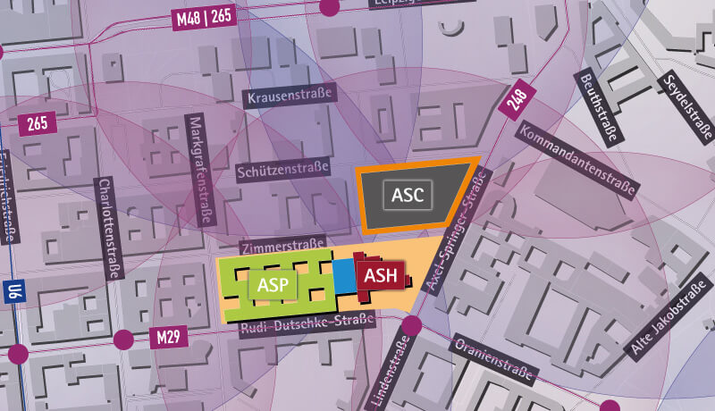ÖPNV Einzugsbereiche | Verkehrs- und Schallgutachten Axel Springer Campus