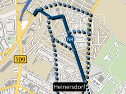 Netzelement N4 der Verkehrslösung Heinersdorf auf dem Stadtplan