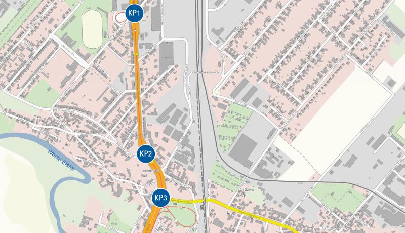 Übersichtsplan   Leistungsfähigkeitsbetrachtungen für das Stadtbahnprogramm Halle, Merseburger Straße