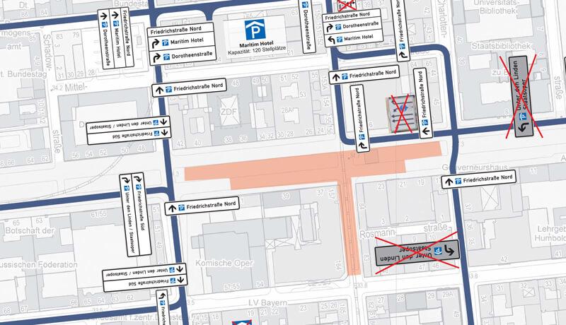 Bauzeitliches Parkleitsystem | Verkehrliche Planungsleistungen im Rahmen des Neubaus der U-Bahnlinie U5 in Berlin-Mitte