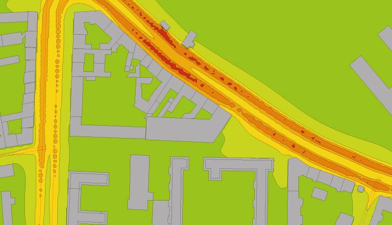Isolinien Überswichtskarte | Luftschadstoffuntersuchung Bebauungspläne V-1-1 & V-1-2