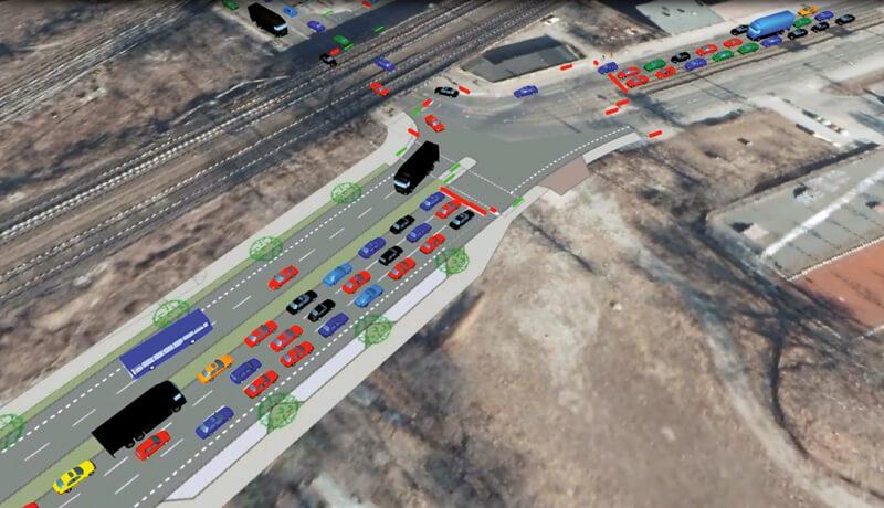 3D Simulation | Verkehrssimulation für den Neubau der Hauptstraße am S-Bahnhof Ostkreuz in Berlin