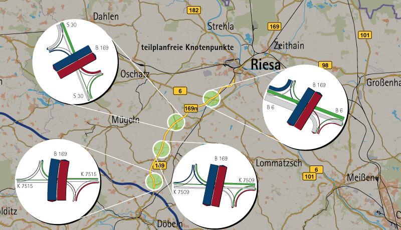 Knotenströme | Verkehrsuntersuchung Raum Riesa im Rahmen des Ausbaus der B 169