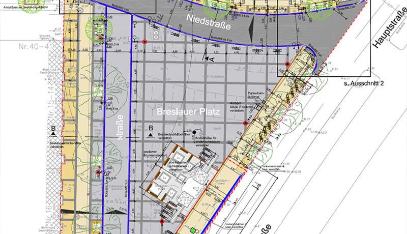 Lageplan Auszug 2 | Umgestaltung des Breslauer Platzes Ingenieurleistungen und Leistungen der Technischen Ausrüstung