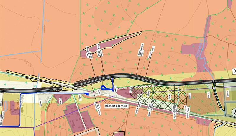 Lageplan | Voruntersuchung für den Autobahnzubringer B 104 / B 197 Neubrandenburg
