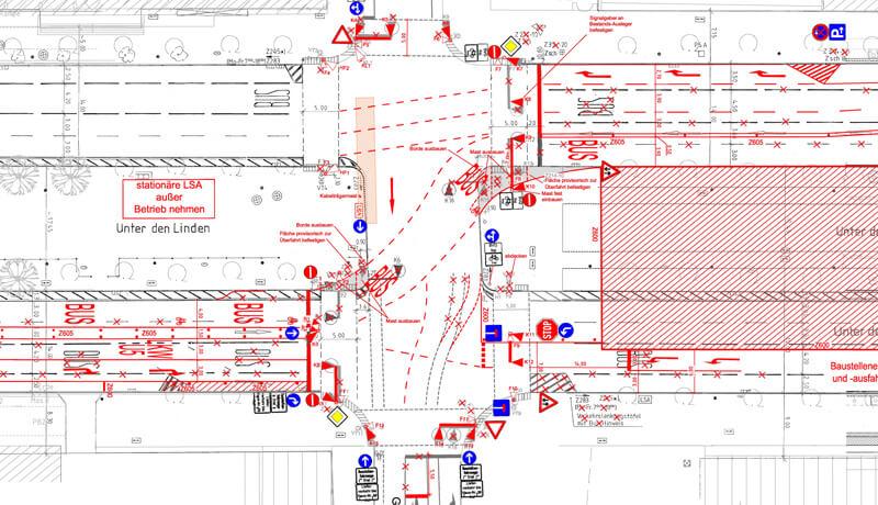 Markierungsplan | Verkehrliche Planungsleistungen im Rahmen des Neubaus der U-Bahnlinie U5 in Berlin-Mitte
