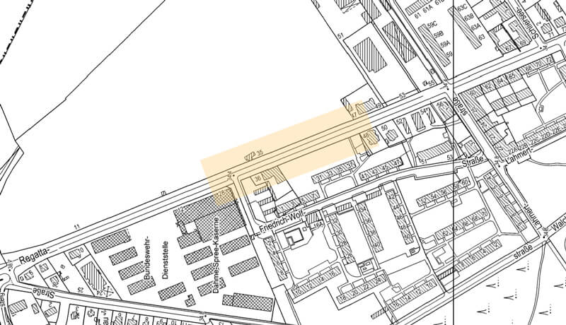 Planungsbereich | Bauzeitliches Verkehrskonzept für Arbeiten am Kanalnetz in der Regattastraße in Berlin