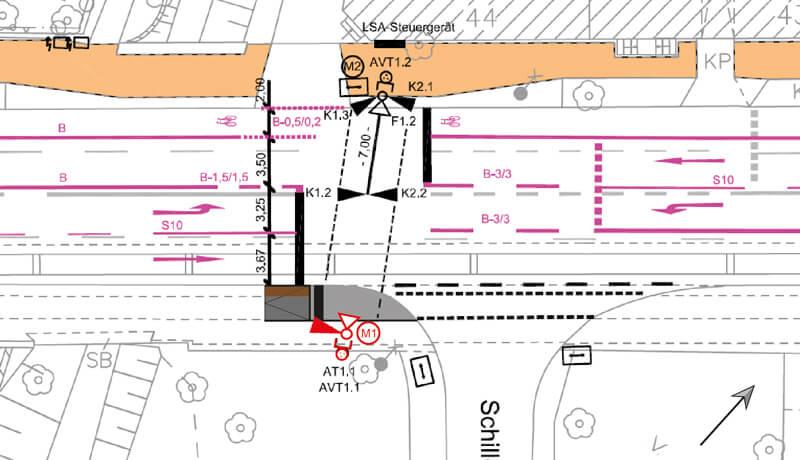 Radrampe Schillerplatz Unfallanalyse Sicherheitsaudit