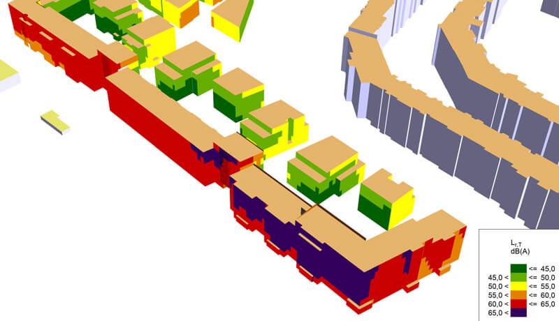 Gebäudelärmkarte 3D   Schallschutzgutachten Wohnbebauung B-Plan 1-64