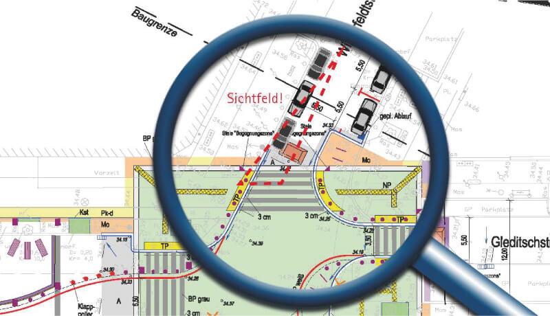 Sichtfeld Sicherheitsaudit Begegnungszone Maassenstraße