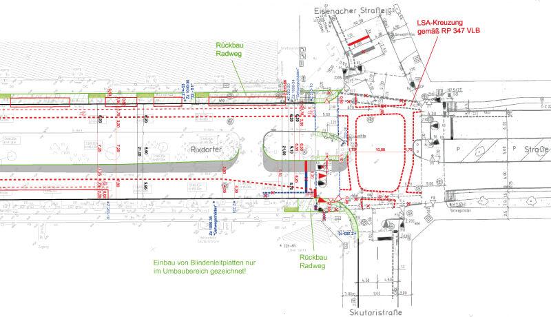 Straßenplanung | Planung der Fahrbahnsanierung und Radverkehrsanlagen entlang der Rixdorfer Straße in Berlin