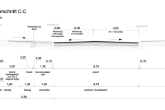 Querschnitt | Planung der Fahrbahnsanierung und Radverkehrsanlagen entlang der Rixdorfer Straße in Berlin